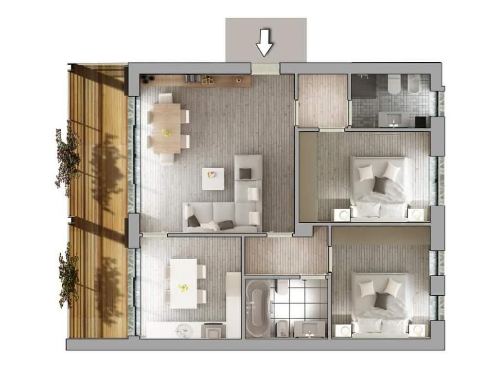 Casa Unika Andora planimetria quadrilocale 1