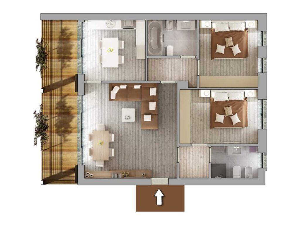 Casa Unika Andora planimetria quadrilocaleB 1